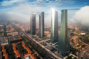 Madrid financial business district aerial view