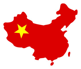 China map vector icon. Flat China map symbol is isolated on a white background.
