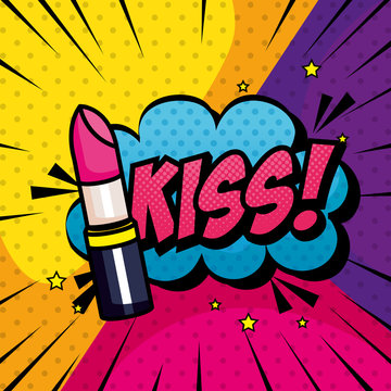 lipstick and cloud with kiss lettering pop art style design