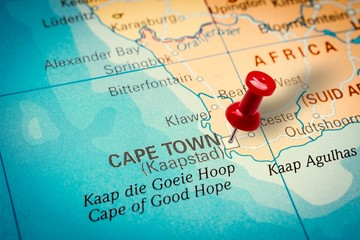 Pushpin pointing at Cape Town city in South Africa