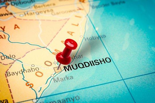 Pushpin pointing at Mogadishu city in Somalia