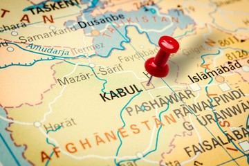 Pushpin pointing at Kabul city in Afghanistan