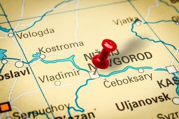 Pushpin pointing at Nizhny Novgorod city in Russia