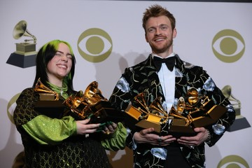 62nd Grammy Awards – Photo Room – Los Angeles, California, U.S., January 26, 2020 - Billie Eilish and Finneas O'Connell pose backstage with her awards