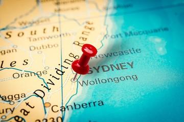 Pushpin pointing at Wollongong city in Australia
