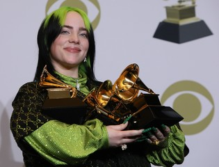 62nd Grammy Awards – Photo Room – Los Angeles, California, U.S., January 26, 2020 - Billie Eilish poses backstage with her awards