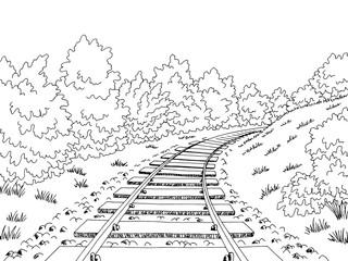 Railway railroad graphic black white sketch landscape illustration vector