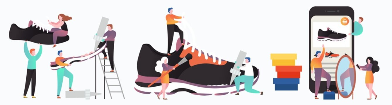 Sneakers manufacturing and sale process vector concept for web banner, website page