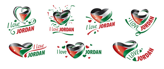 National flag of the Jordan in the shape of a heart and the inscription I love Jordan. Vector illustration