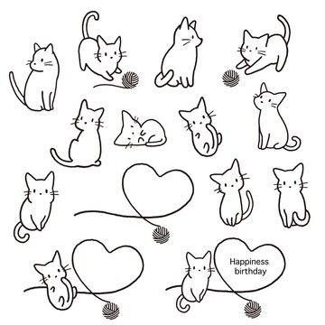 Simple and cute cat illustration material,