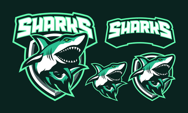 Sharks mascot logo design for sport or e-sport logo isolated on dark background