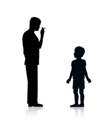 silhouette of an adult with tobacco dependence smokes a cigarette and sets a bad example for a child