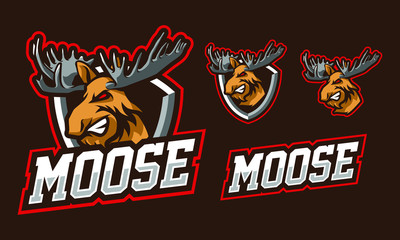 Moose mascot logo design for sport or e-sport logo isolated on dark background