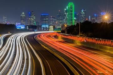 Aluminium Prints Texas LIGHT TRAILS ON ROAD AT NIGHT