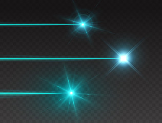Laser beam set isolated on transparent background. Abstract blue shine light rays with glow lazer flash. Vector turquoise neon explosion effects..
