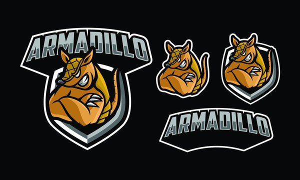 Armadillo mascot logo design for sport/ e-sport logo design isolated on dark background