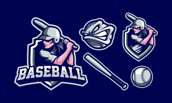 Baseball mascot logo design for sport/ e-sport logo design isolated on dark background