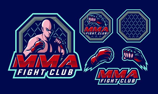MMA Fighter mascot logo design for mma sport logo design isolated on dark background