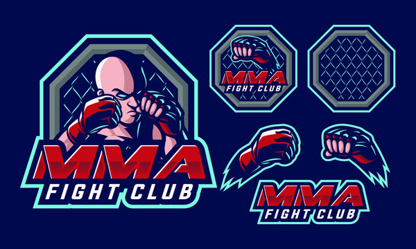 MMA Fighter mascot logo design for mma sport logo design isolated on dark background