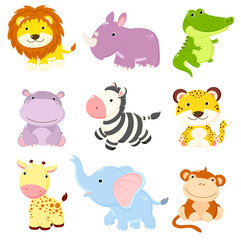 Cute African animals collection
