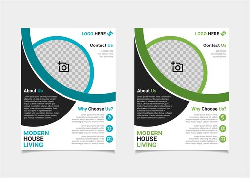 Business flyer estate template vector design, US letter brochure template blue and green geometry shapes used for poster property leaflets, magazine property, and brochure cover property