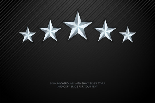 Dark background with gently texture and five silver shiny stars