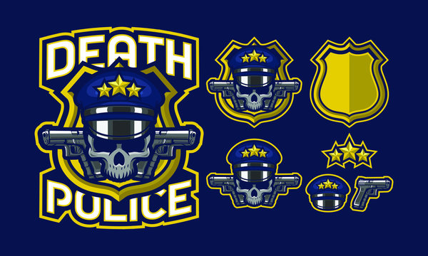 Death police skull mascot logo design with extra design fit for sport of e-sport logo isolated on dark background