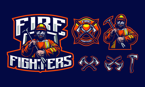Fire fighters mascot logo design with extra design fit for sport of e-sport logo isolated on dark background
