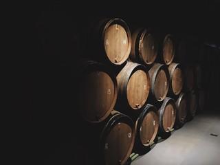 Fototapeta WINE casks in cellar