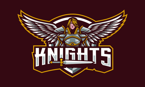 Knights mascot logo design with extra design fit for sport of e-sport logo isolated on dark background