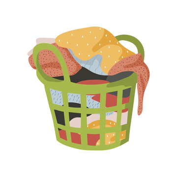 Isolated on white background basket with a bunch of dirty laundry. Vector flat illustration.
