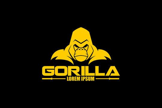 SIMPEL AND MODERN GORILLA CARTOON CHARACTER VECTOR LOGO TEMPLATE