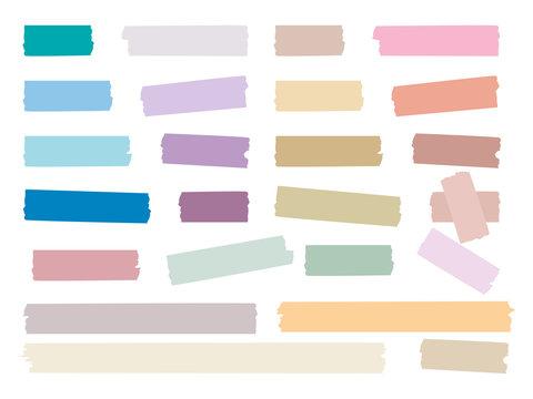 Sticky strips. Colored decorative tape mini washi sticker decoration vector set. Sticky tape, ripped scrapbook sticker decorative illustration