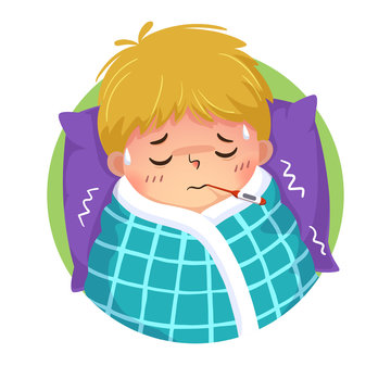 Vector illustration of cartoon boy having cold and fever with a thermometer in his mouth in bed at home. Health Problems concept.