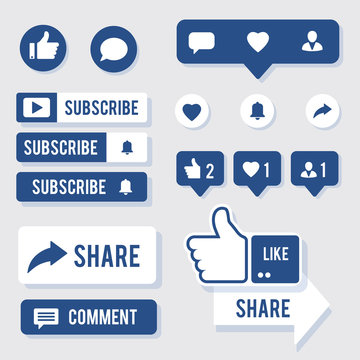 Like, Share, Comment, Message bubbles and Subscribe social media icon big collection in trendy color. Set of modern vector elements, eps10
