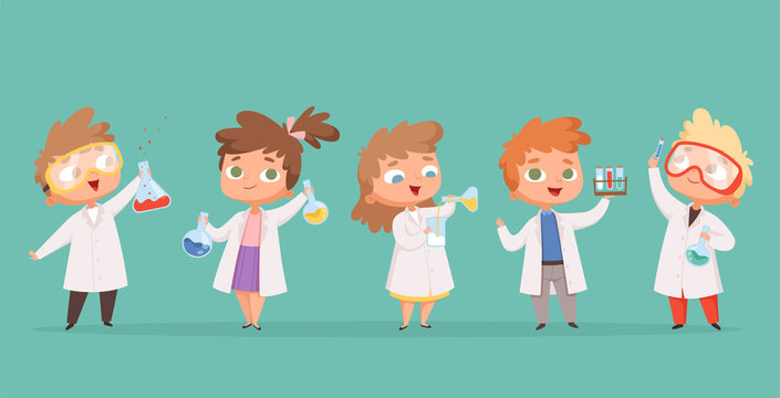 Chemistry kids. Science children school characters in lab vector cartoon people. School lab and student experiment, scientific research illustration