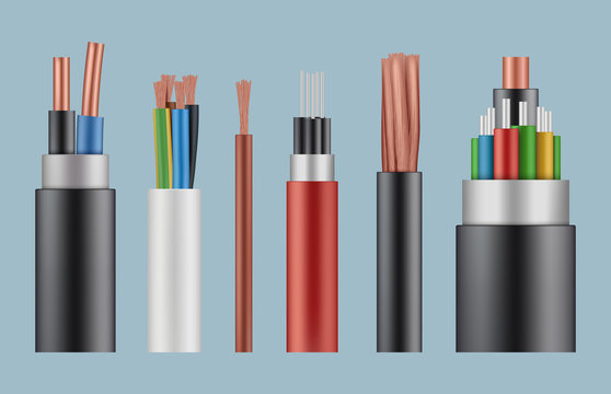 Optical cables. Wire fiber cord structure electrical line wicker vector realistic template. Illustration fiber cord, complex power optical wire