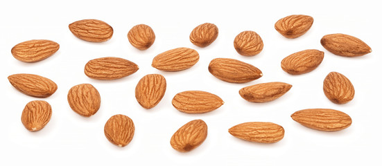 Collection seeds nut Almonds isolated on white background. Group Almond nuts closeup. Organic food