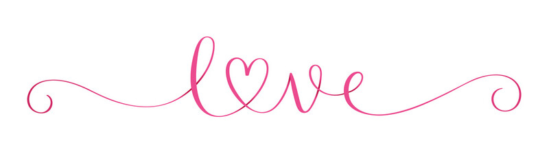 Wide pink vector LOVE brush calligraphy banner with heart