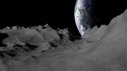 Moon surface, lunar landscape with planet Earth on the horizon