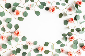 Flowers composition. Frame made of pink flowers on white background. Valentines day, mothers day,...