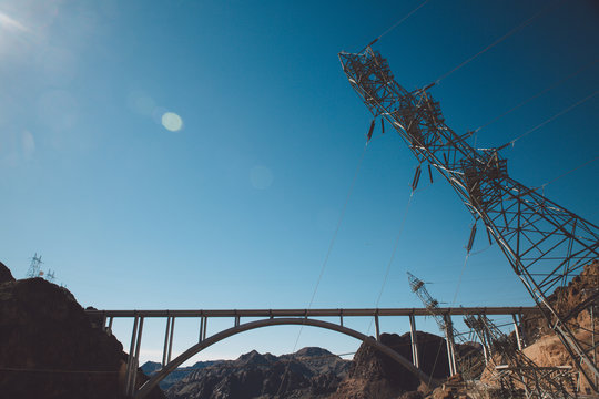 Mike OcallaghanPat Tillman Memorial Bridge At Hoover Dam Against Blue Sky