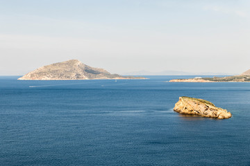 Sounion, Greece. Views of the sea from Cape Sounion, a promontory at the southernmost tip of the Attic peninsula