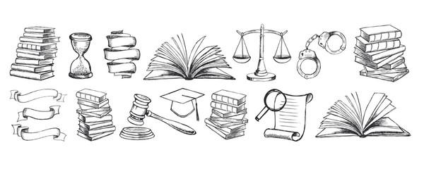 Law symbols set. Scales vector hand drawn.