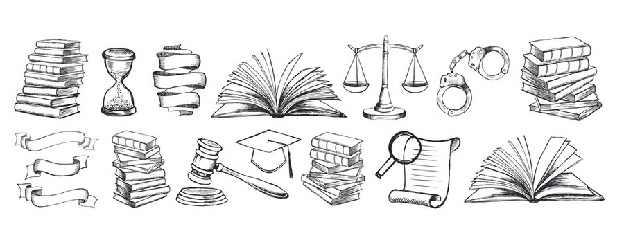 Law symbols set. Scales vector hand drawn.