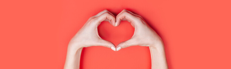 Female hands show a heart symbol on a red background. Place for text, copy space, banner format Wall mural