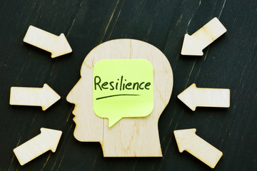 Resilience word on the wooden shape of head.