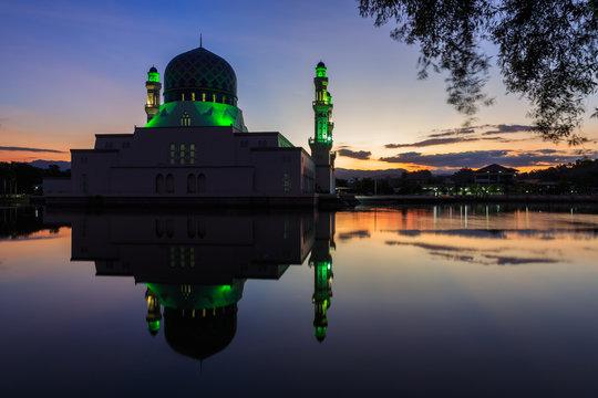Kota Kinabalu City MosqueWith Reflection On Lake At Sunset