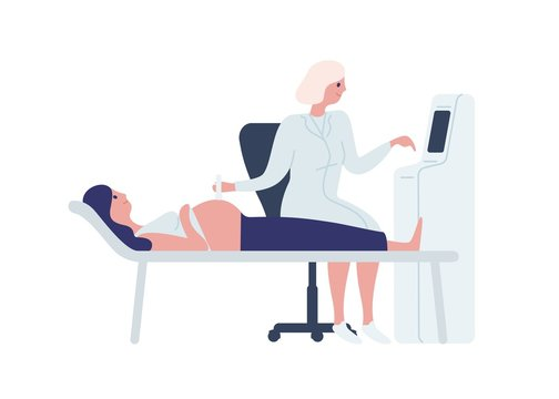 Cartoon female doctor scanning pregnant woman with scanner machine vector flat illustration. Happy future mother at medical checkup isolated on white. Concept of medicine ultrasound scan