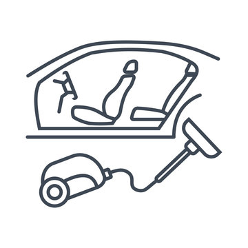Thin line icon car service, maintenance, interior cleaning